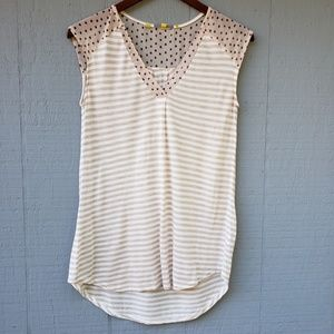 Anthro Little Yellow Button Striped V Neck Tank XS